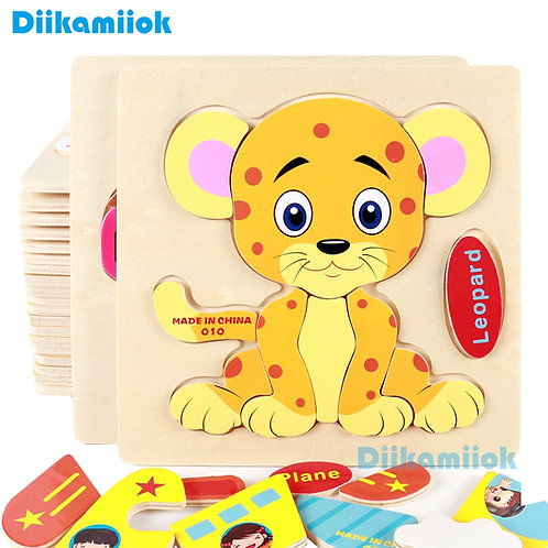 Wooden 3D Puzzle Jigsaw Baby Learning Toys for Children Cartoon Animal Fruit