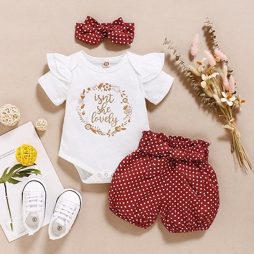 TELOTUNY Children's Clothing Newborn Baby Girls Ruffles Short Sleeve LetterPrint
