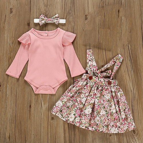 Autumn Infant Baby Girls Clothes Sets 3Pcs Pink Romper Long Sleeve Tops Flower