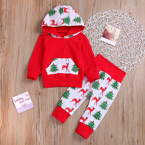 Newborn Infant Baby Girls Clothes Long Sleeve Christmas Patchwork Hoodie+pants