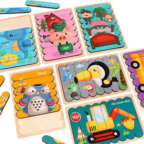 Kids Animal 3D Wooden Puzzle Montessori Toy Double-Sided Strip Puzzle Telling