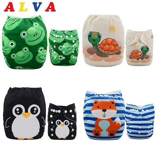 ALVABABY 4pcs/Set Cloth Diapers Baby Shells Adjustable Reusable Baby Cloth Nappy