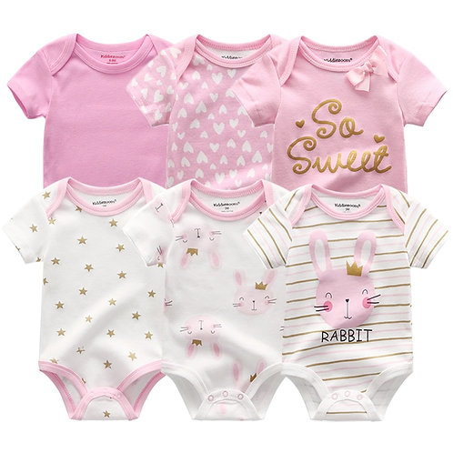 6PCS Newborn Baby Boys Girls Bunny Summer Clothes 2020 New Cotton Baby Bodysuits
