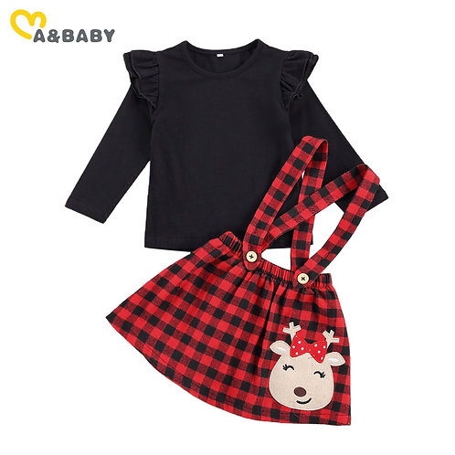 Ma&Baby 1-6y Christmas Toddler Kid Girls Clothes Set Black Top Red Plaid Skirts