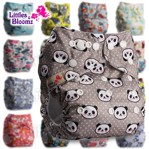 [Littles&Bloomz] Baby Washable Reusable Diaper Birth to Potty One Size Real