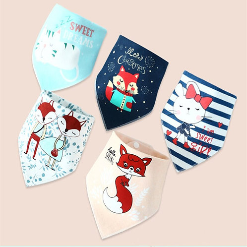 1 Piece Baby Bibs for Boy Girl Bandana Bib Burp Cloth Print Animal Triangle