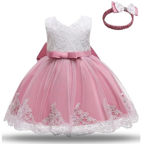 Baby Girls White Baptism Dress Newborn Princess Birthday Wear Toddler Flower