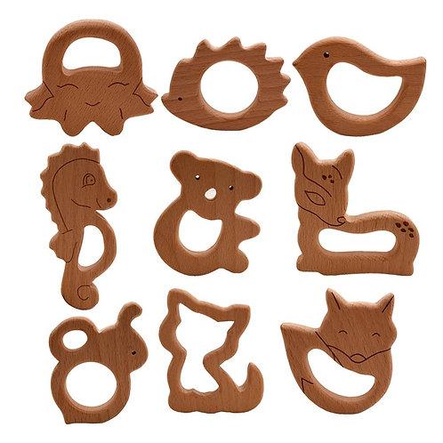 2020 DIY Baby Teether Toys Wooden Animal Shape Necklace Pendant Food Grade Beech