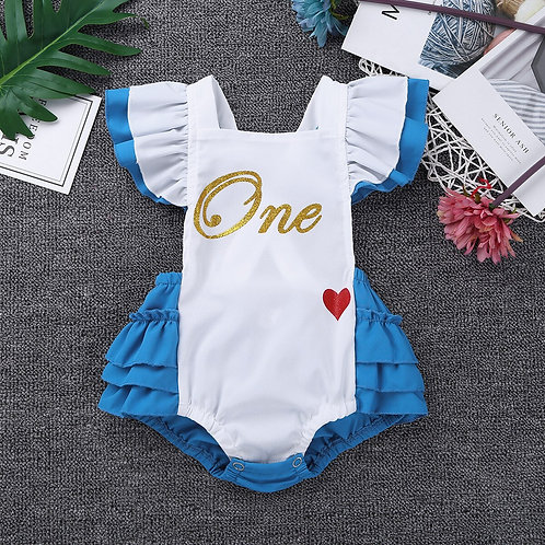 Newborns Baby Girls Fancy Clothing Flutter Sleeves Letters One Sweet-Heart