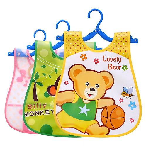 1pcs Animal Bib Adjustable Baby Bibs Plastic Waterproof Lunch Feeding Bibs Baby