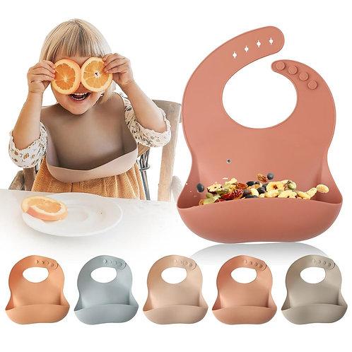 Let'S Make 1pc Silicone Bibs for Kids Newborn Baby Feeding Tableware Waterproff