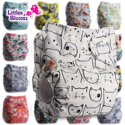 Littles&Bloomz Baby Washable Reusable Real Cloth Pocket Nappy Diaper Cover Wrap