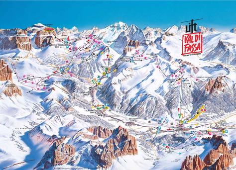 Val di Fassa - Ski Map El valle donde nos hospedamos