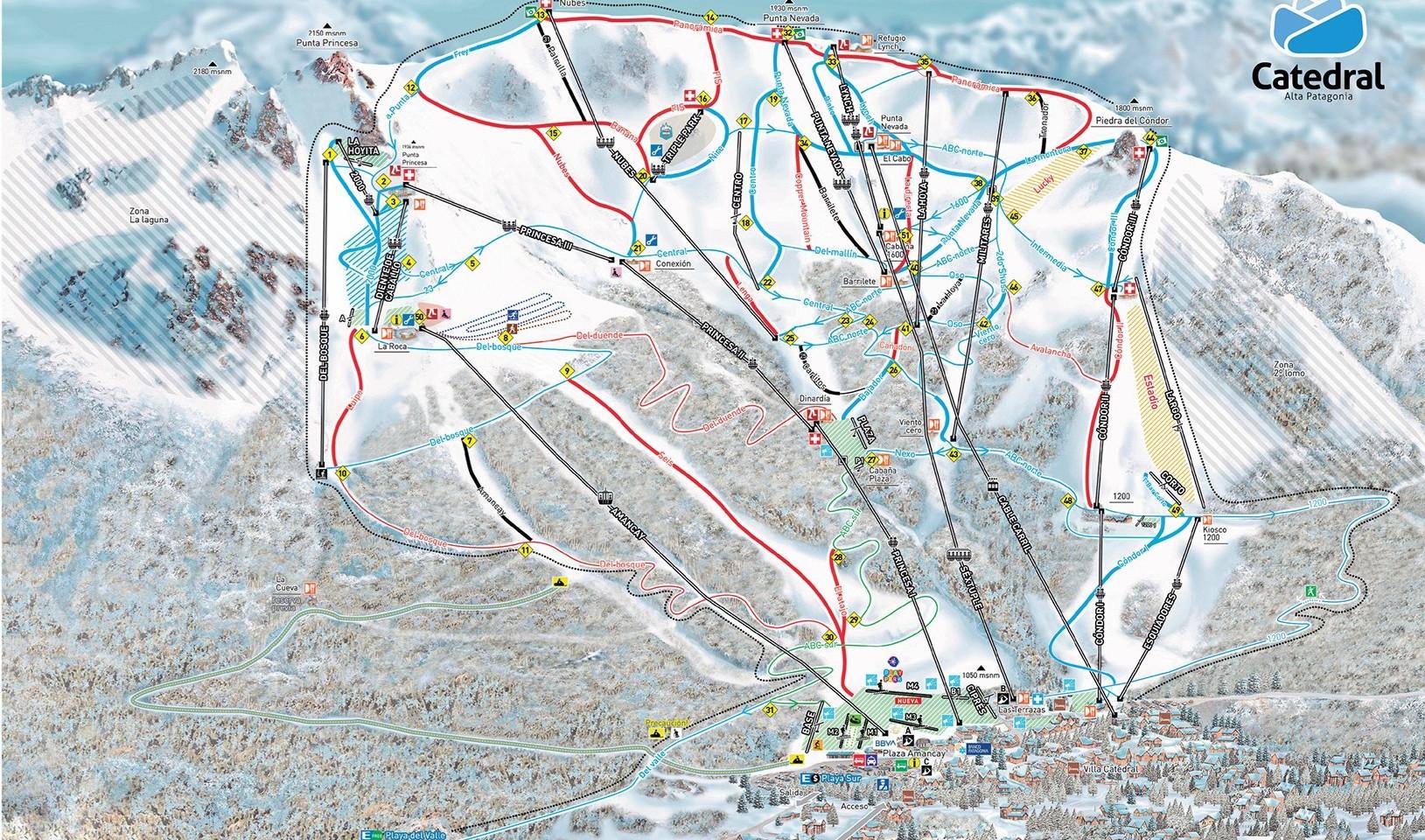 Cerro Catedral Ski Map