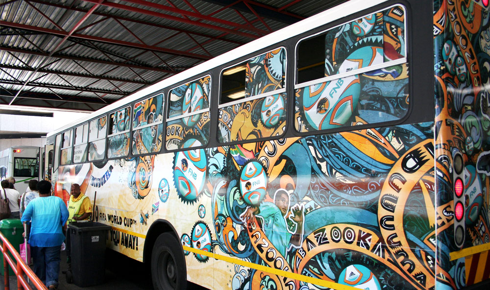 south africa, map, bus advertising,