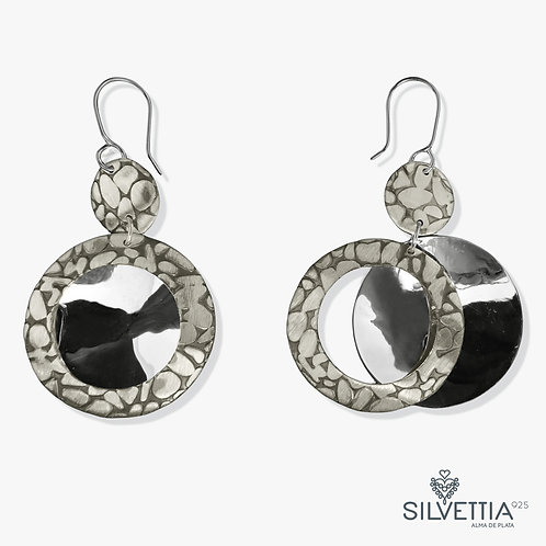 Double silver circular  dangling  earrings
