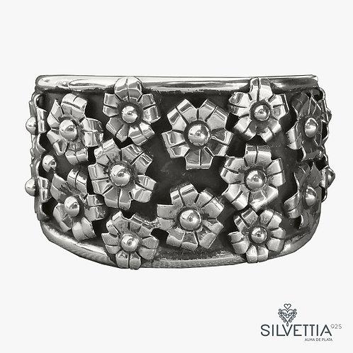 Wide floral silver cuff
