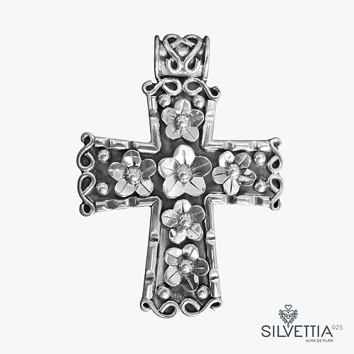 Cross with flowers pendant