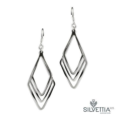 Rhomboid dangling earrings