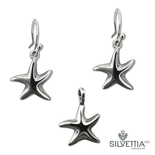 Juego de Estrellas de Mar en plata