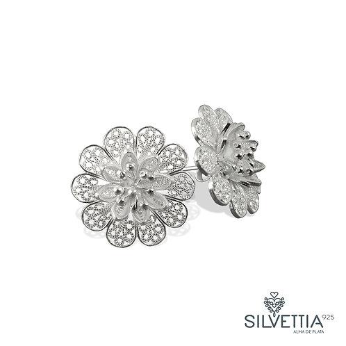 Aretes Flores de filigrana en Plata