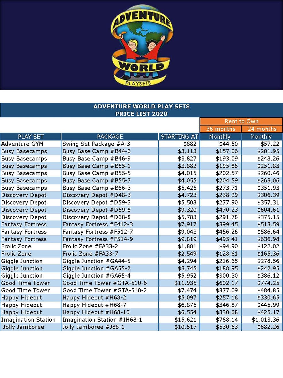 Swing Set Price List 2020 RTO (24-36) Ne