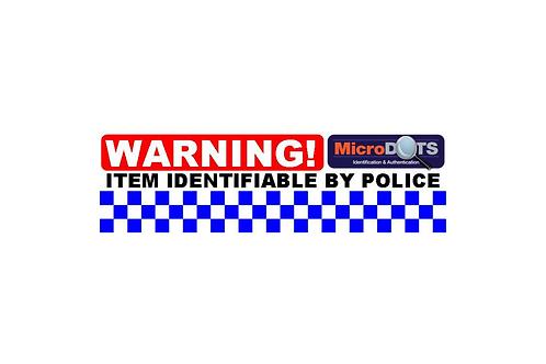 MicroDOT Warning Label, 120mm x 35mm