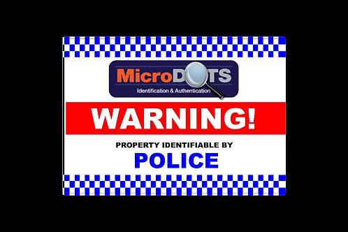 MicroDOT Warning Sign, 900mm x 600mm