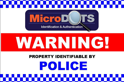 MicroDOT Warning Sign, 600mm x 400mm
