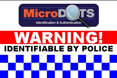 MicroDOT Warning Label, 75mm x 50mm
