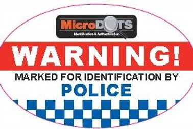 MicroDOT Warning Decal, 65mm x 40mm