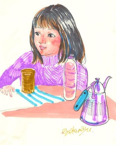 お茶を飲みながら仕事の為のリサーチ  #drawing #illustratio