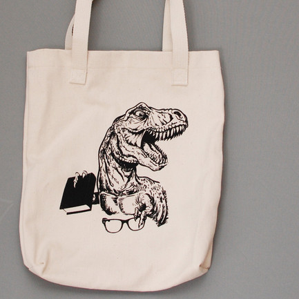 Funny Library Tote Bag T-Rex with Book