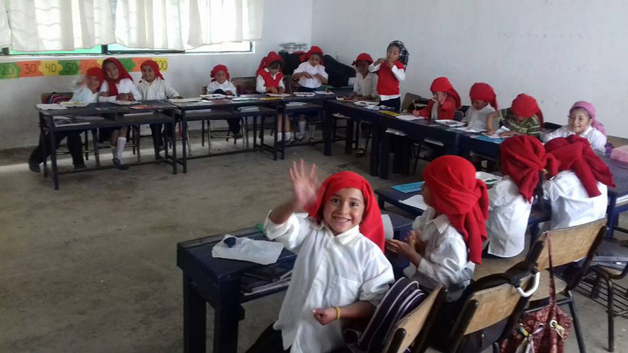 Children learning in classroom in Mexico