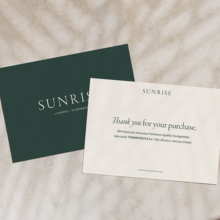 Shipping insert card design for loungewear brand