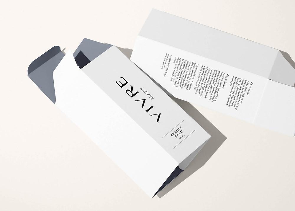 Minimalist beauty box packaging design
