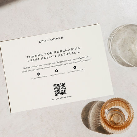 Shipping insert card design for haircare brand