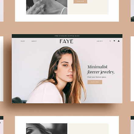 Shopify hero image and web design for jewelry brand
