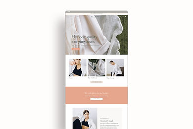 Shopify homepage design for loungewear brand