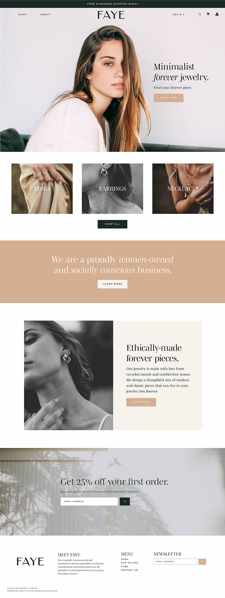 Shopify homepage design for jewelry brand
