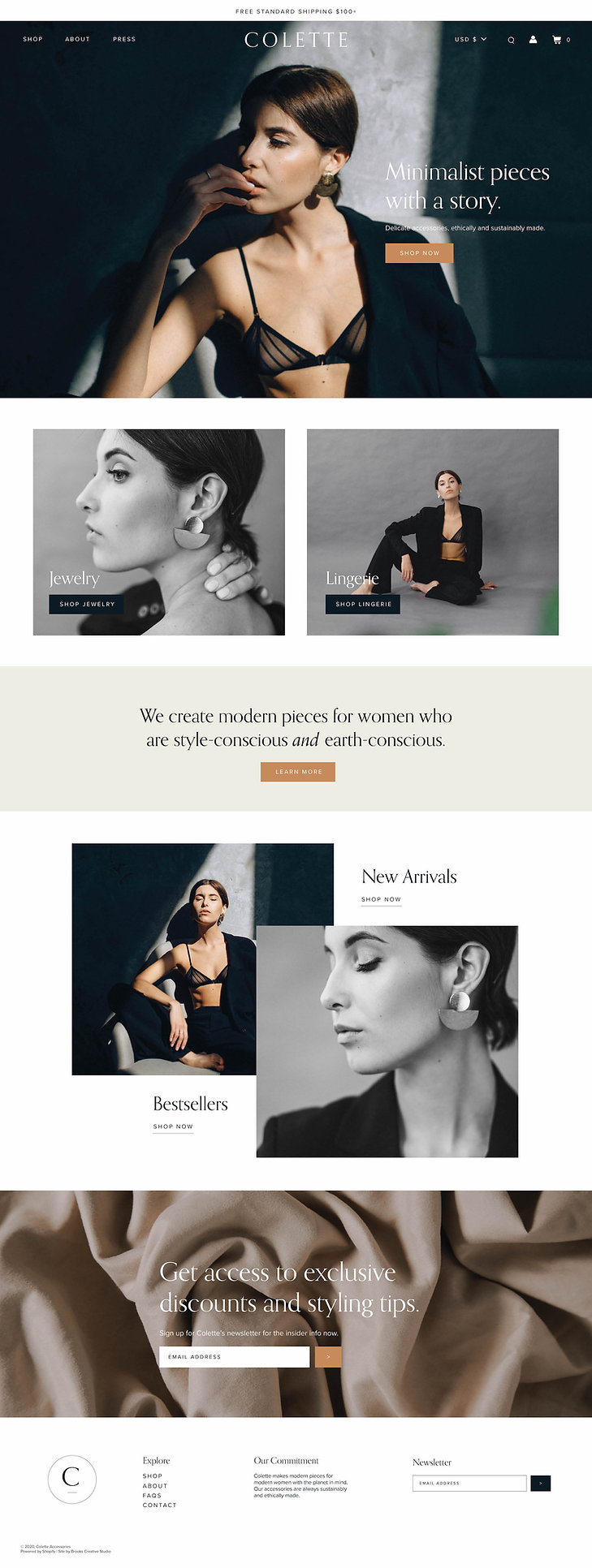 Shopify homepage design for high-end accessories brand