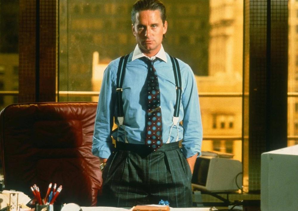 """Michael Douglas als Gordon Gekko in """"Wall Street"""": Großzügigkeit und Corporate Social Responsibility statt Unternehmertum und Geiz"""
