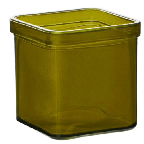 Private Label Vintage Green Square Glass 8.5oz | 48 Candles