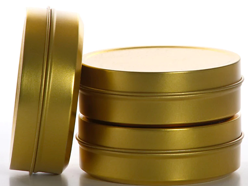 Private Label Gold & Black Round Shallow Tin 4oz | 48 Candles