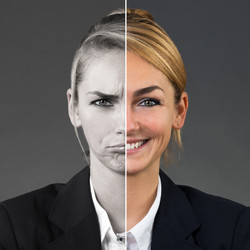 Two Side Face Of Young Woman Showing Dif