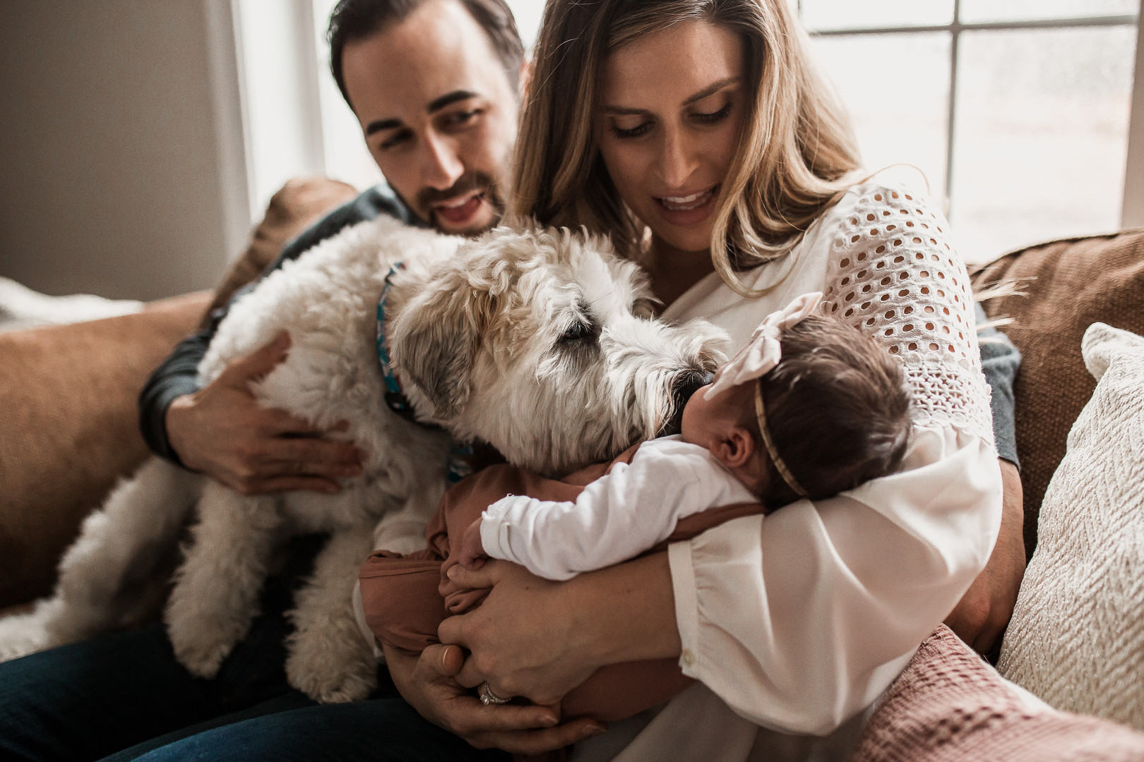 In Home Lifestyle Newborn Session with Dog