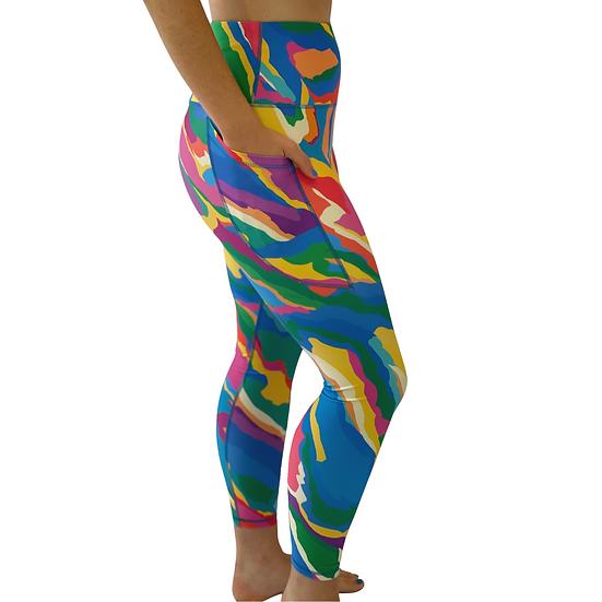 "Leggings, full length with pocket - ""Rainbow"" by Monique Baqués"