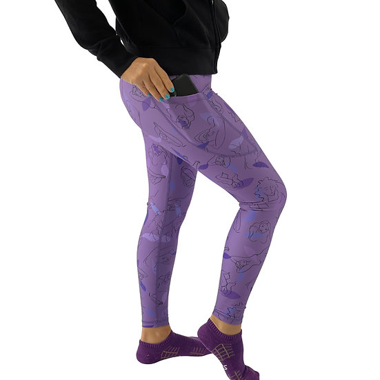 """Leggings, full length with pocket - """"Lilac Freedom"""" by Monique Baqués"""