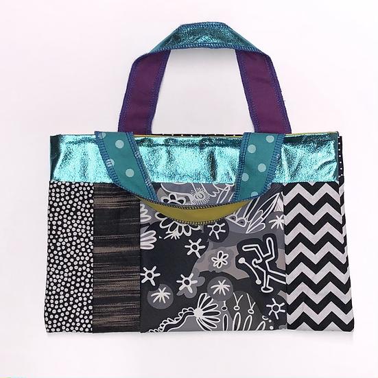 """Coral"" Small Handbag - Handmade from fabric scraps"