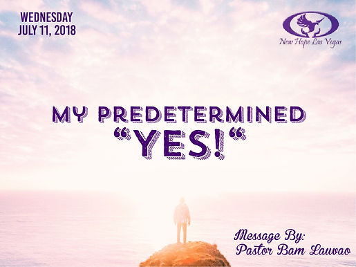 """MY PREDETERMINED """"YES!"""""""